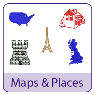 Maps and Places Embroidery Designs