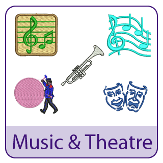 Music and Theatre Embroidery Designs